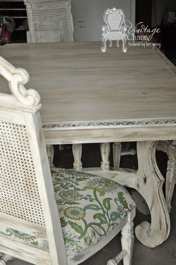 Annie Sloan Old White Dining table set by Vintage Charm Restored