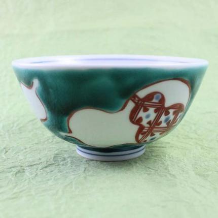 九谷焼飯碗(ご飯茶碗)色絵瓢箪緑(大)