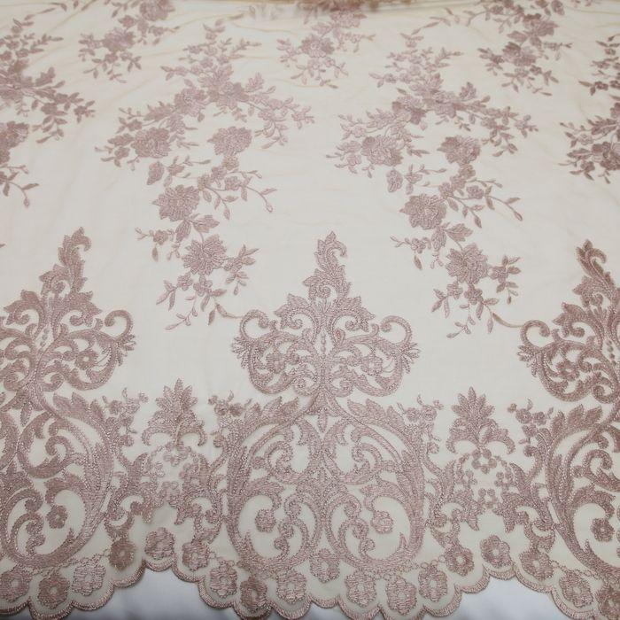 Tecido tule bordado italiano rose - Maximus Tecidos   Loja Online