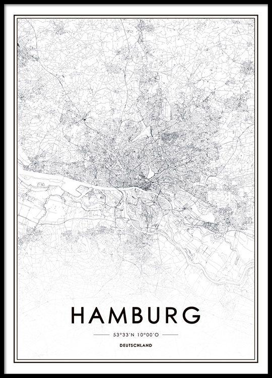 Poster mit schöner Hamburg-Karte