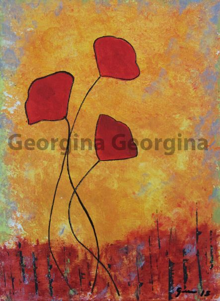 Poppies -Acrylic Painting for sale