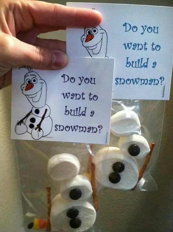 Do you want to build a snowman? Treat. Marshmallow, pretzels, m&m or raisins and a candy corn
