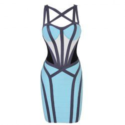 $40.10 Criss-Cross Bandage Hollow Out Backless Zipper Imitated Silk Color Matching Bandage Dress For Women