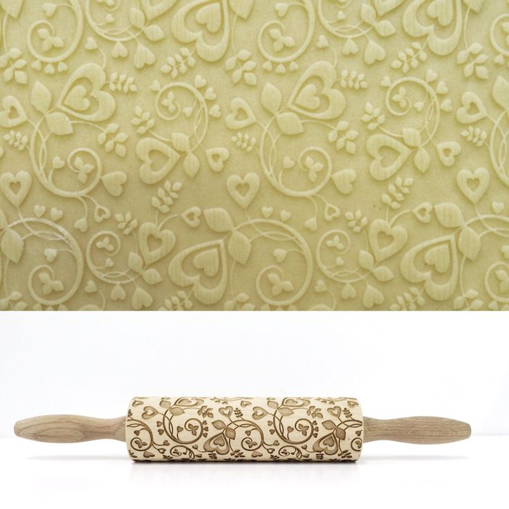 FLORAL HEART PATTERN - Embossing rolling pin, laser engraved rolling pin by Texturra on Etsy https://www.etsy.com/listing/265958327/floral-heart-pattern-embossing-rolling