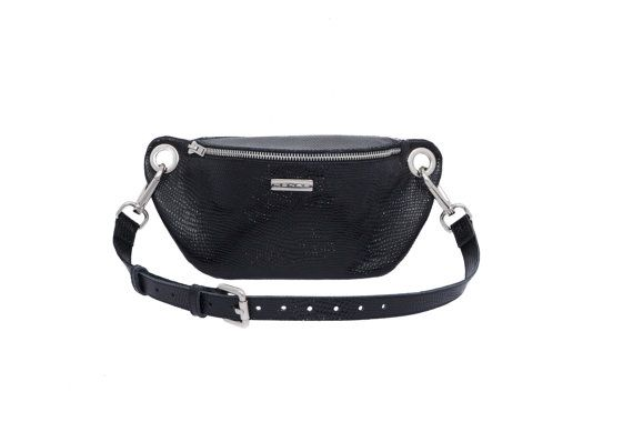 Leather bum bag fanny pack hip bag black leather by MONAObags
