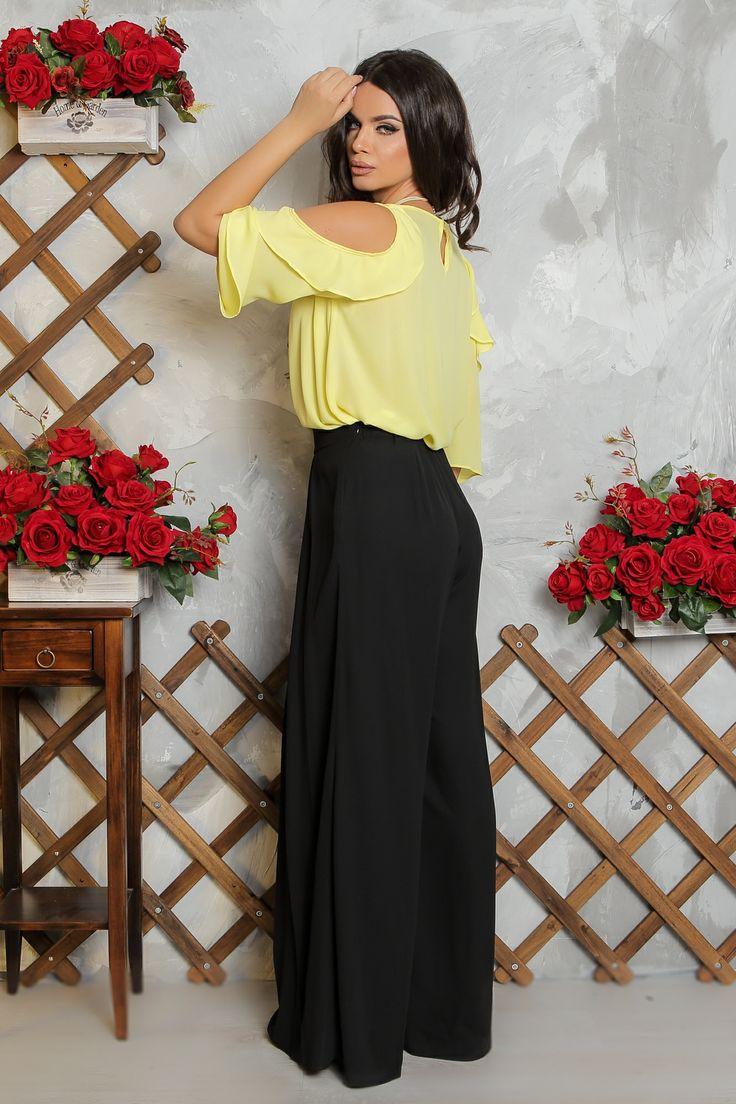 Bluza galbena | Madelia Fashion - Magazin online haine și rochii de damă    Bluza din voal, maneca 3\4 cu volane la umeri, prevazuta cu nasture la spate.