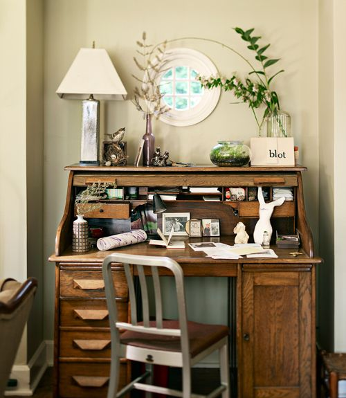On our wishlist: an antique roll-top desk like this one.