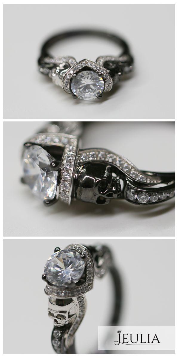 HaloTwo Tone Round Cut Created White Sapphire Skull Ring #Jeulia