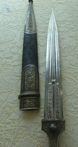 Siglo-Xix-Ruso-KINDJAL-kinjal-Daga-Cosaco-Espada-caucasica-Cuchillo-Niello