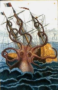 Colossal octopus by Pierre Denys de Montfort  en:Pierre Denys de Montfort († 1820) - from en:Image:Colossal octopus by Pierre Denys de Montfort.jpg where it was uploaded by en:user:Salleman. フランスの軟体動物学者ピエール・デニス・ド・モンフォール (en) によって描かれた巨大な頭足類(1801年公表)。 ノルウェー近海やアイスランド沖、ほかにもアフリカ南部のアンゴラ沖などで、このような生物に襲われたという記録が船乗りによって残されている。  Pen and wash drawing by malacologist Pierre Dénys de Montfort, 1801, from the descriptions of French sailors reportedly attacked by such a creature off the coast of Angola.
