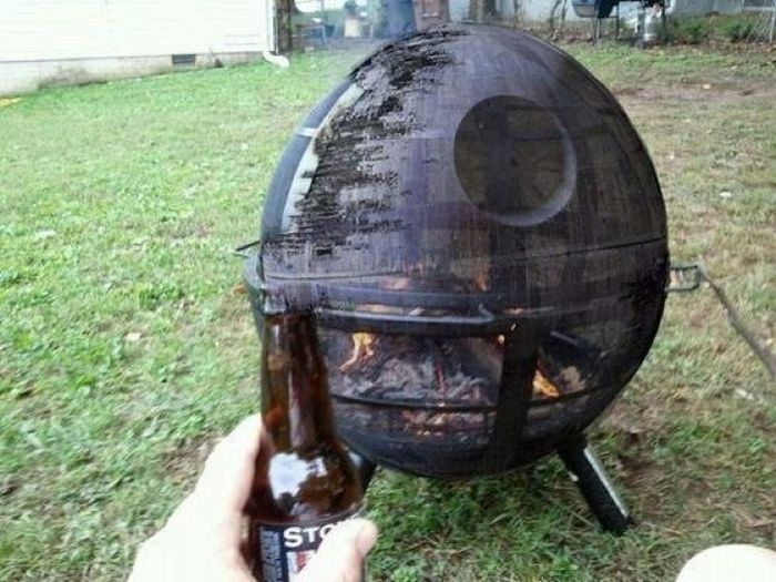 Death star fire pit, if only it were real.