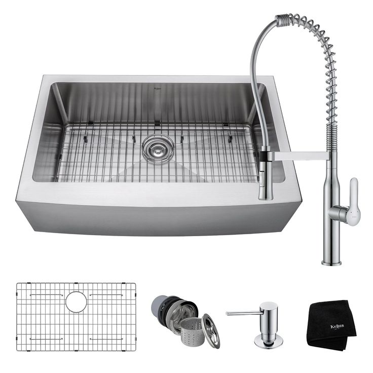 Kraus 33 Farmhouse Sink with Nola Commercial Faucet & Soap Dispenser (Chrome Finish), Silver