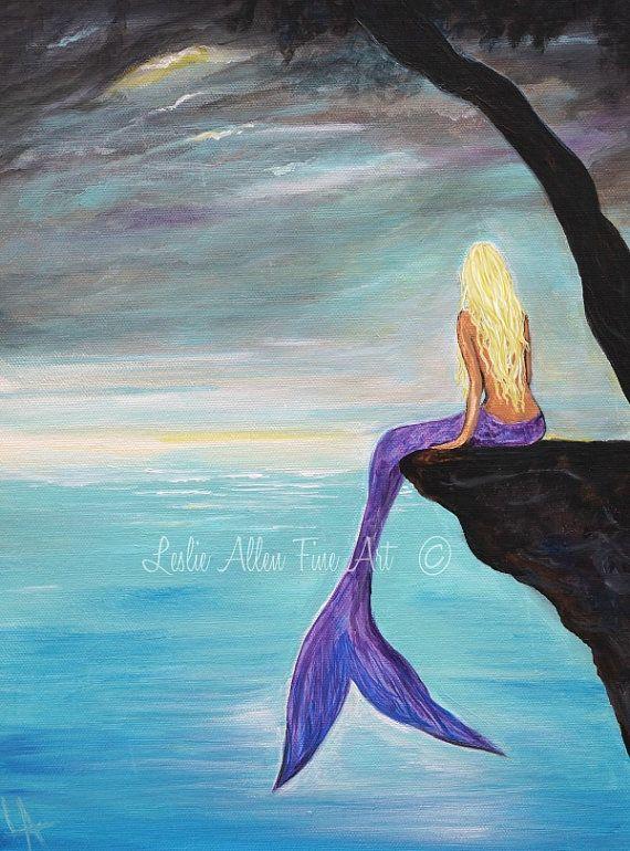 "Mermaid Art Print Mermaid Painting Wall Art Mermaid Theme Decor  Fantasy Art Print  Calm Calming ""Mermaids Haven"" Leslie Allen Fine Art"