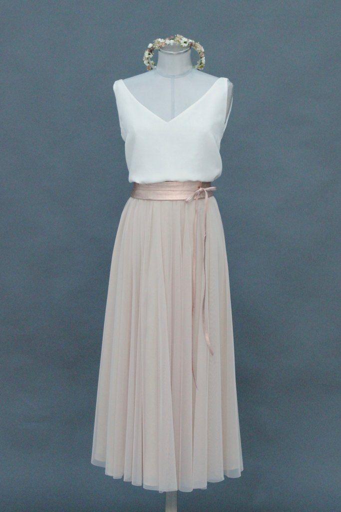 Tulle skirt Blush, calf-length, flowing soft tulle – Farrah