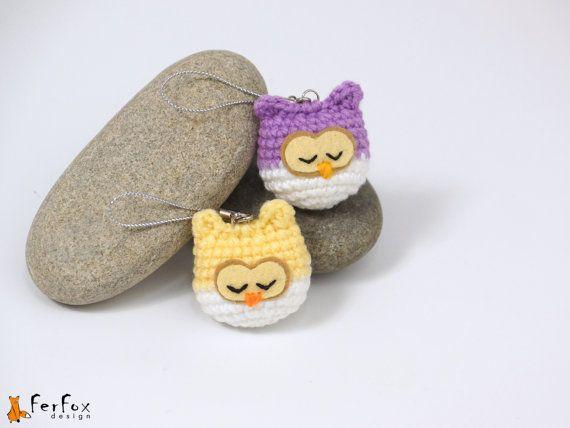 Sleeping owl phone charm by FerFoxDesign #charm #owl #handmade