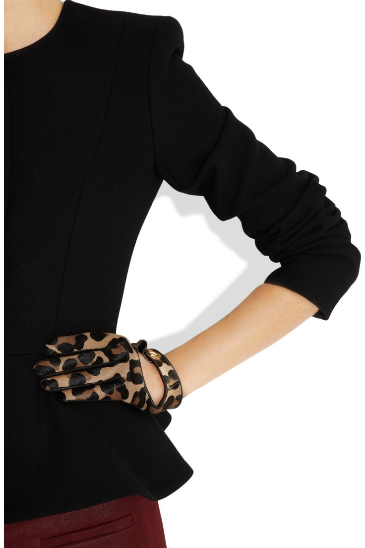 Corvette leather driving gloves - Agent Provocateur Driving Gloves Black Leather Leopard Print Calf Hair Fully Lined Gold Designer Stamped Snap Fastening At Cutout