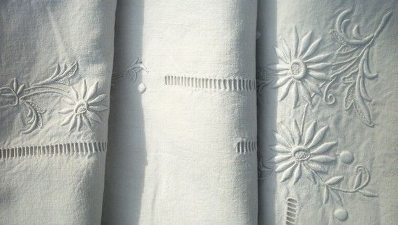 Vintage French cotton linen sheet, hand embroidered.