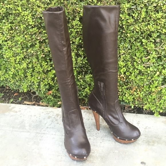 brown faux leather studded knee high boots brown platform