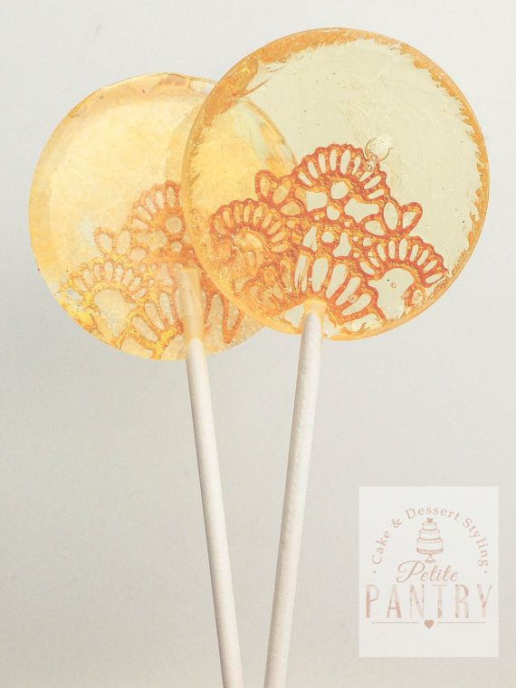 Gold Lace Lollypop Wedding Favour by PetitePantryUK on Etsy