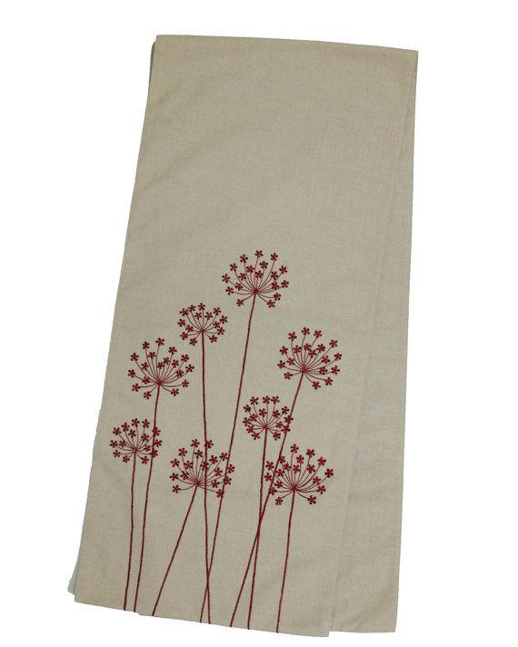Linen Table Runner Embroidered table linen Beige Linen от KainKain
