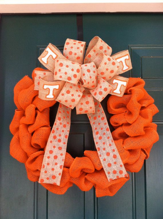Tennessee+Vols+Orange+Burlap+Wreath+by+wreathsbymc+on+Etsy,+$65.00