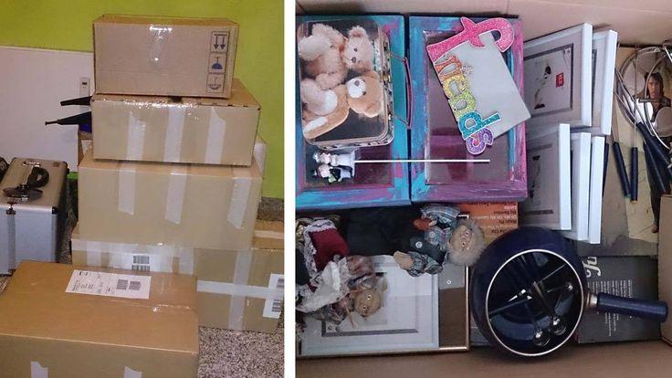 Gebrauchte Sachen verkaufen und verschicken - Pakete sind fertig zum verschicken und die Flohmarktkiste ist gefüllt