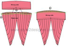"""4.Make Pleats at the top edge of each leg parts to fix the length to the Waist Band. 5. Insert the gathered part to the Waist band by facing right sides together. 6. Sew along ¼"""" away from edge (adjust with pleats if need) to attach leg part to the Waist band. Turn right side out and Press."""