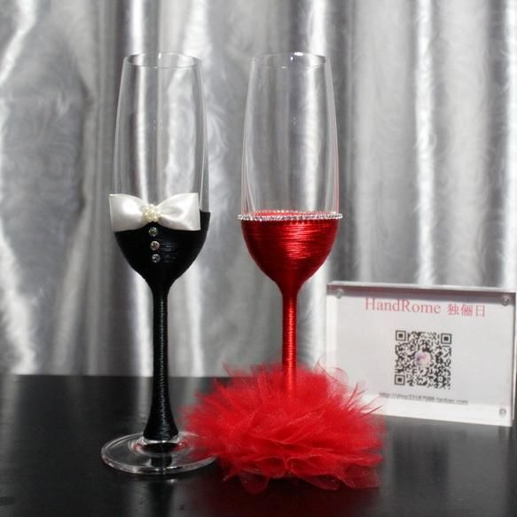 Exquisite Crystal Champagne Flutes Wine Glasses Tulle Wedding Dresses Lead Free Groom Bride Beach Decorations