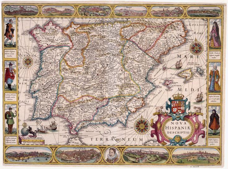 Mapa Orlado de la Península Ibérica de Blaeu.