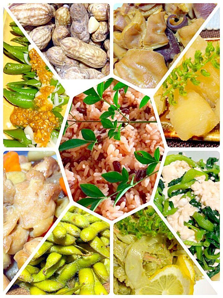 筑前煮 茹で落花生 青梗菜の白和え アボカドサラダ 焼き唐辛子の甘味噌だれ 塩だれ枝豆 数の子 赤飯 ガツの味噌煮 アボカドのサラダ