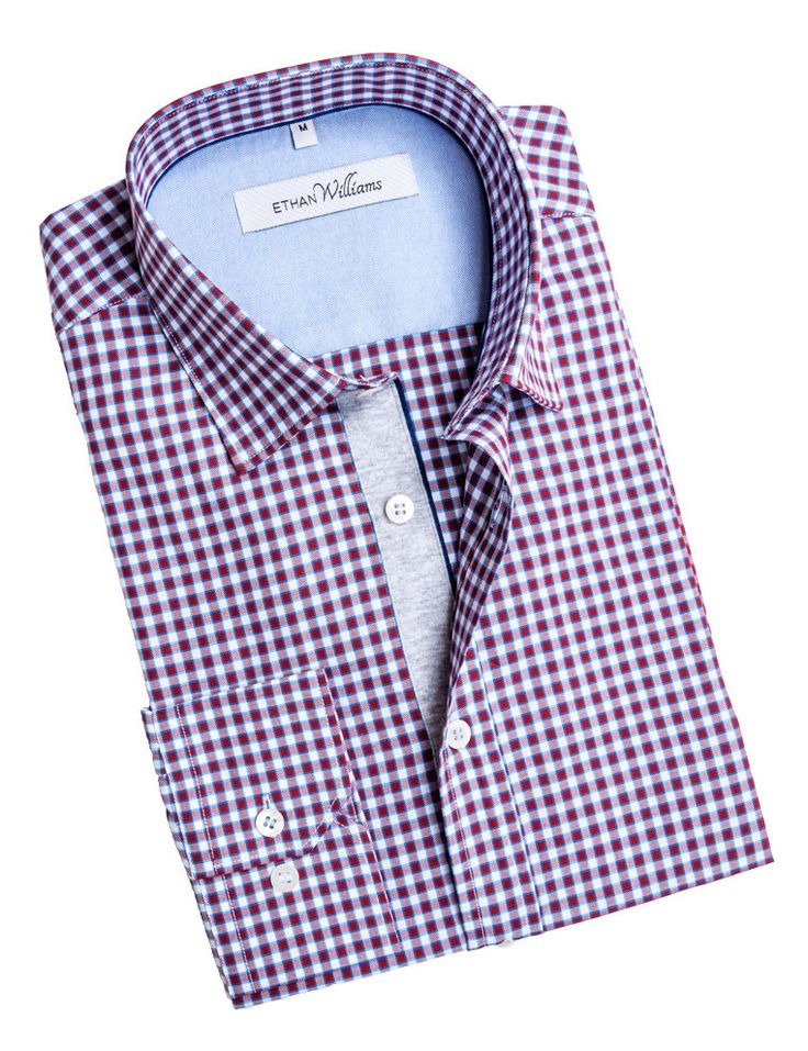 Ethan Williams Red oxford check shirt with cut away collar - Manon