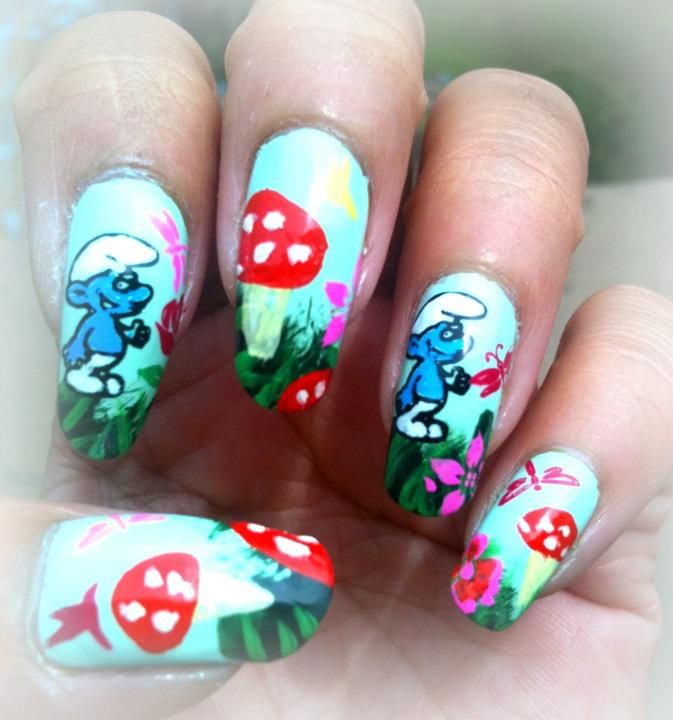 25 unique easy nail polish designs ideas on pinterest nail funny nail art designs fabulous funny smurf polish themed nail art design for kids prinsesfo Choice Image