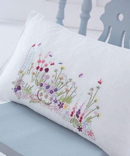 Mon Jardin embroidered linen cushion