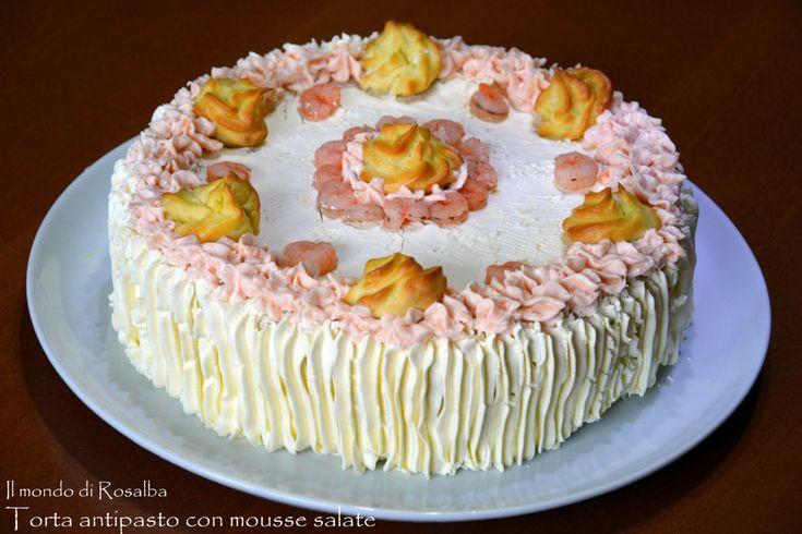 Torta antipasto con mousse salate,rustico particolare da servire in momenti speciali e di festa, quando si vuole presentare un antipasto sfizioso e gustoso