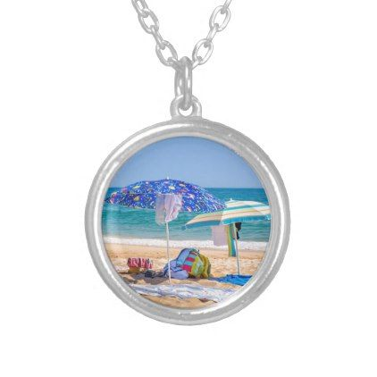 Two sun umbrellas and beach supplies at sea.JPG Silver Plated Necklace - jewelry jewellery unique special diy gift present