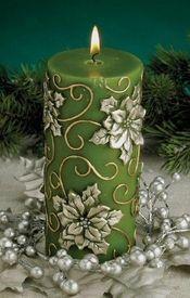 Green Poinsettia Flower Christmas Pillar Candles