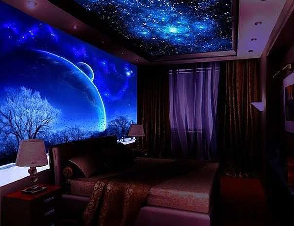 10 Cozy And Dreamy Bedroom With Galaxy Themes Home Design And Interior Wallpaper House Design Wallpaper For Home Wall Wallpaper Designs For Walls