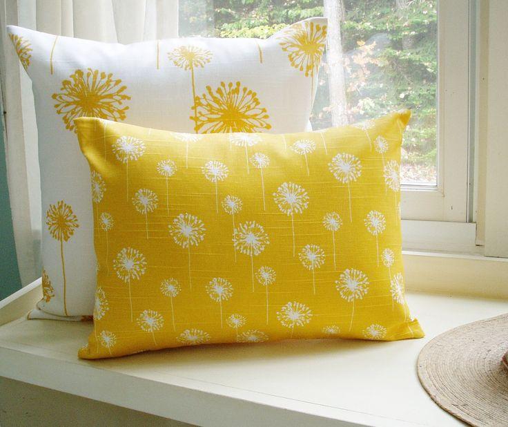 Yellow Pillow Cover Lumbar Dandelion 16x20 Decorative Throw Pillow. $20.00, via Etsy.