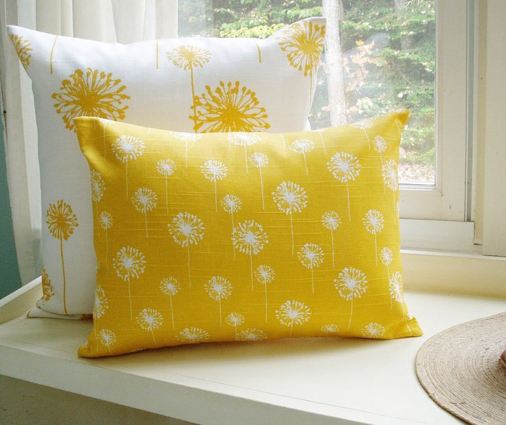 Yellow Pillow Cover Lumbar Dandelion 16x20 Decorative Throw Pillow. $20.00, via Etsy.