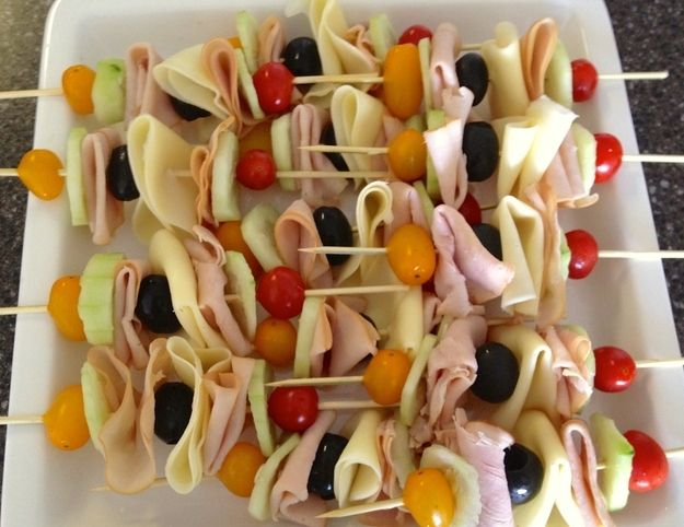 Ham, Cucumber and Cherry Tomato Skewers   15 No-Bread Sandwiches