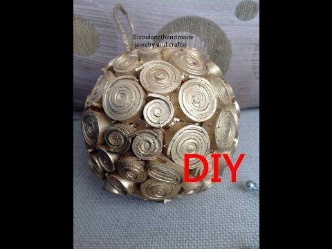 Gold ball ornament using a plastic vending machine ball, Χριστουγγενιάτικη μπάλα στολίδι βήμα βήμα - YouTube