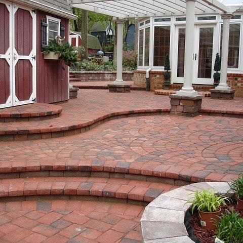 Distinctive paving and hardscaping solutions.  Featuring Hanover Appian Fans in Red Charcoal. www.lifetimepavers.com #lifetimepavers #pavers #paver #paving #hardscaping #hanover #hanoverpavers #appian #outdoors #outdoorlife #landscaping #hardscape