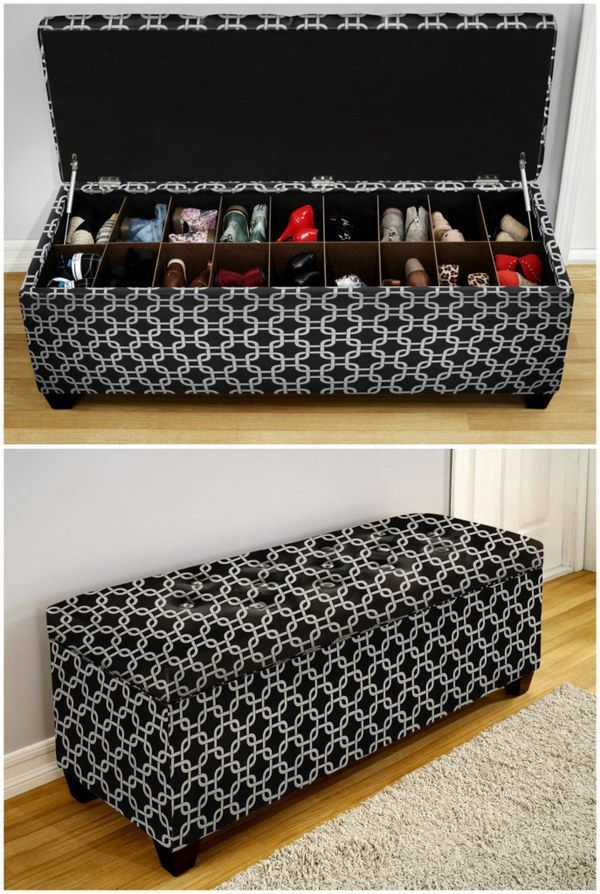 ~ 30+ Creative Shoe Storage Ideas....Storage Bench for Shoes.
