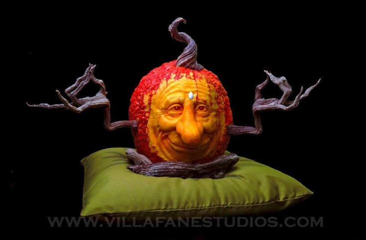 Look at the posable hands, legs and perfect stem attached to a real pumpkin carved by Ray Villafane.  Available at http://villafanestudios.com