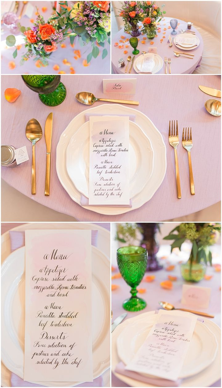 Wedding Details   Wedding Tablescape, wedding table setting, gold and brass cutlery, colourful tablescape, colourful table setting, pink wedding table, sweetheart table, watercolour calligraphy menu and place settings