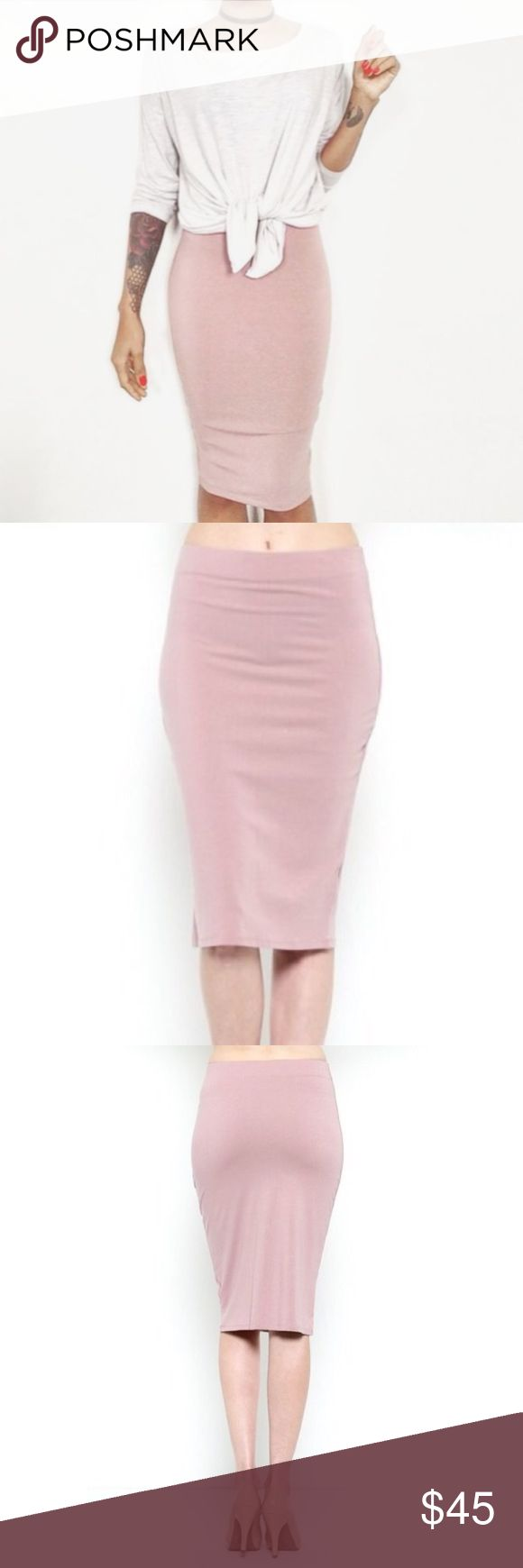 IN STOCK! Dusty Pink Fitted Midi Skirt Dusty mauve solid fitted midi skirt with elastic band waist! Rayon spandex blend.  Thank you for shopping with me! If you have questions, don't be afraid to ask! Skirts Midi