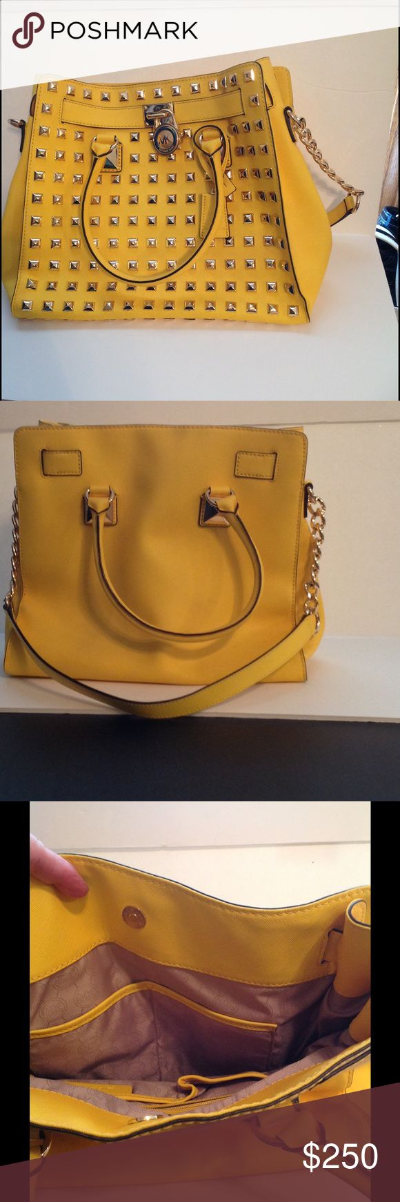 Michael Kors large Hamilton Bright yellow, Michael Kors large studded hand bag. In excellent condition. It's been sitting in my closet for so long. I can't remember if I even use it! If I did, it was only a few times. I initially bought it to wear with an all black outfit. Michael Kors Bags
