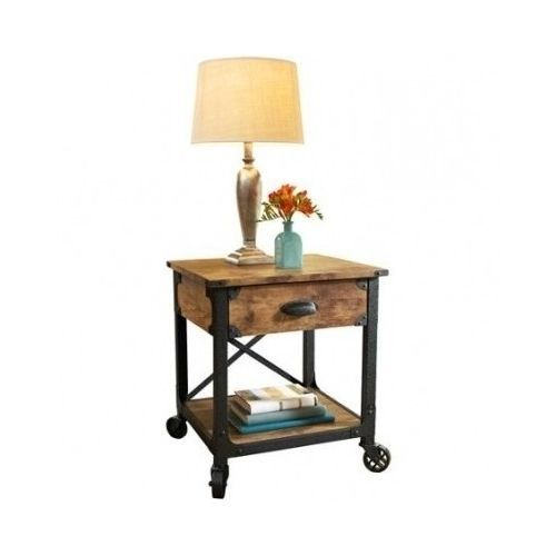 Antiqued Side Table Drawer Storage Accent Furniture Rustic Sofa Living Room Home #BetterHomesGardens #Country