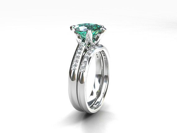Unique This engagement set has a beautiful ct light mint Green Tourmaline engagement ring with white