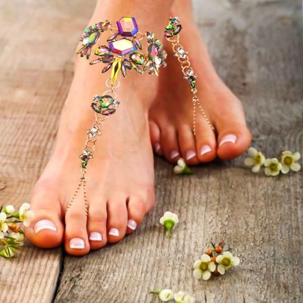 Shop Gold Foot Jewelry. Indian Barefoot Sandals with beaded Gems. Add a Bohemian Beach BareFoot Wedding Sandals Beach Wedding Ankle Chains are Adjustable at the Back of the Foot. Barefoot Sandals are a must have Accessory.